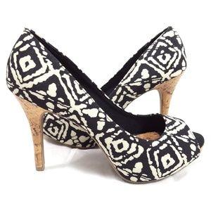 Christian Siriano Cork Printed Peep Toe Heels